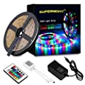 SUPERNIGHT LED Strip Lights Waterproof - RGB Multi Color Changing Rope Light 16.4ft 300 LED Flexible Tape Kit with IR Remote Controller, 12V Power Supply for Party, Bedroom, Kitchen, TV, Car, Boat