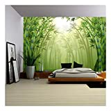 wallpaper pic - wall26 - Illustration of The Bamboo Trees Inside The Forest - Removable Wall Mural | Self-Adhesive Large Wallpaper - 100x144 inches