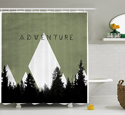 Ambesonne Adventure Shower Curtain, Forest with Halftone Effect Hipster Typography Camping in Mountains, Fabric Bathroom Decor Set with Hooks, 70 Inches, Army Green Black White