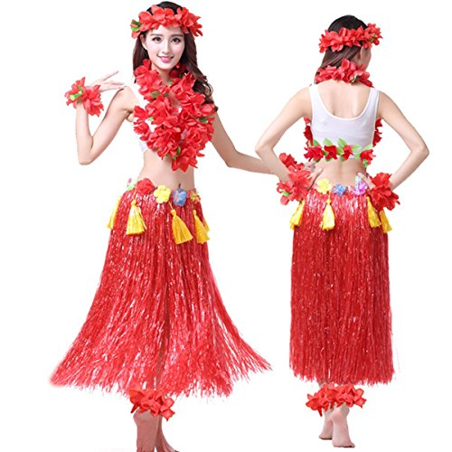 Hawaii Dance Costume (Hawaii Hula Adult Clothing Eight Piece Ballet Suit Dance Performance Costume Dress Skirt Garland Full Sets (Adult, Red))