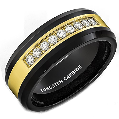 Mens Wedding Band Black Tungsten Ring Gold Inlay with Cubic Zircon Comfort Fit (10.5) Gold Inlay Ring