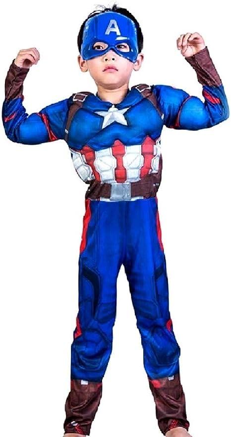 EVRYLON Traje de capitán américa niño Carnaval musculoso Busto ...