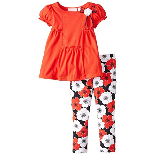 Kids Headquarters Little Girls' Tunic with Flower Print Leggings, Red, 3T