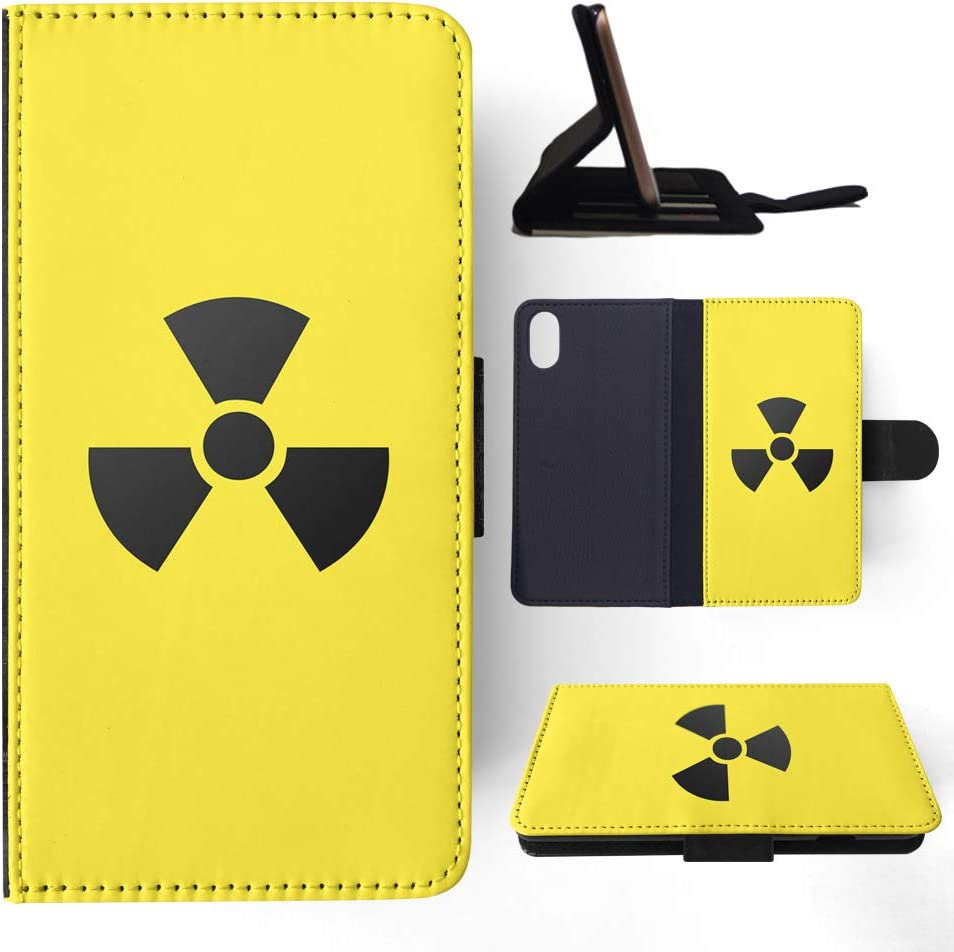 Foxercases Design (2020) Radioactive Radiation Sign Flip Wallet Phone Case Cover for Apple iPhone X