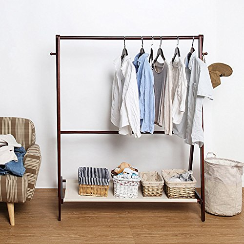 Jerry & Maggie - Garment Rack Cloth Rack Natural Sturdy Wood Coat Rack Clothes Hanging System Laundry Drying With Bottom Shelves | Foldable / Collapsible / Luxury by Jerry & Maggie (Image #3)