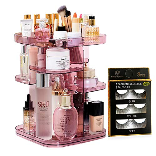 Upgraded Makeup Organizer 360º Smooth Spinning Sturdy Acrylic (NOT PLASTIC) Cosmetic Storage Display Case for Brushes Lipsticks Rings-Free Returnless Replace Warranty (Pink)