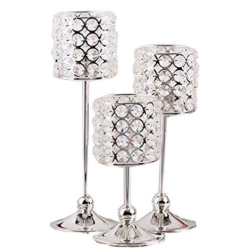 LANLONG 3pcs fashion wedding decoration crystal candlestick tealight holder candle holders glass candle holder glass jars for candles (silver 3pcs)