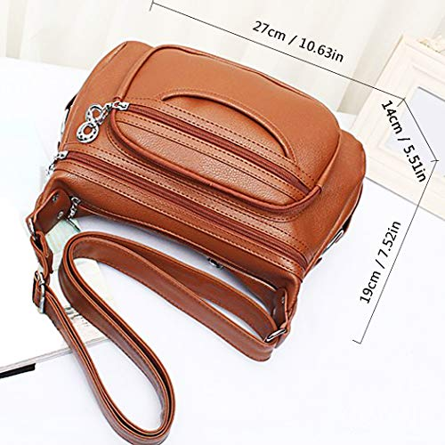 Ladies Shoulder Bag Purses Multi Brown Women Bags Crossbody Cocifer Pockets Leather For Medium xzwqSCPE0