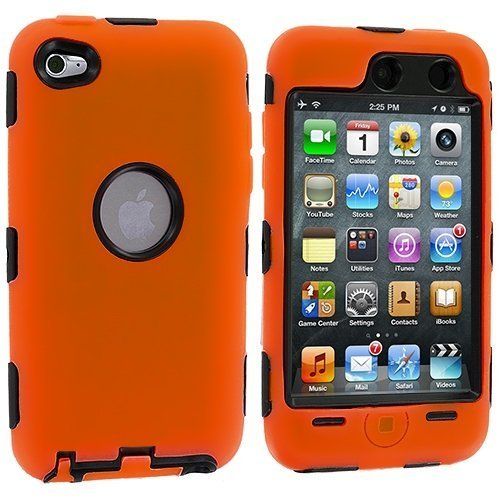 Orange Deluxe Hybrid Premium Rugged Hard Soft Case Skin Cover for iPod Touch 4th Generation 4G 4