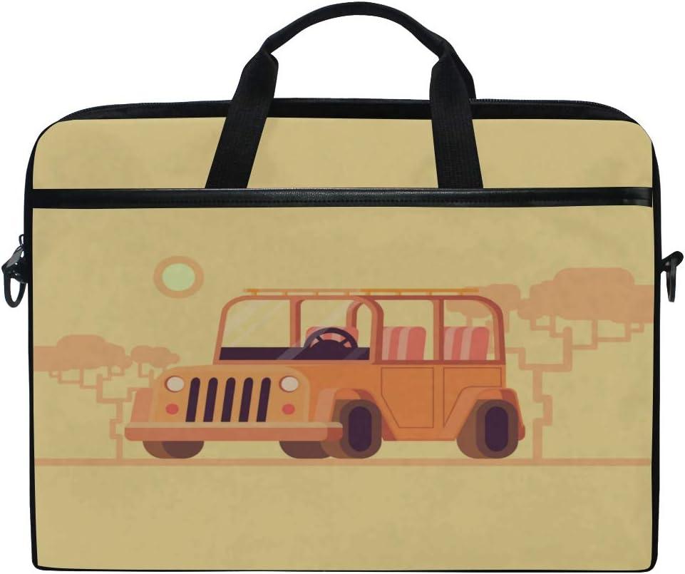 Laptop Bag Concept Safari Jeep Flat 15-15.4 Inch Laptop Case Briefcase Messenger Shoulder Bag for Men Women College Students Business People Office Workers