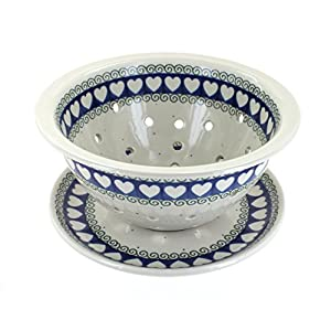 Blue Rose Polish Pottery Cupid Berry Bowl & Plate