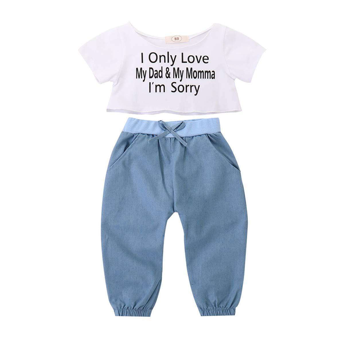 FCQNY Kids Girls Summer Short Sleeve Cotton T-Shirt Top+Blue Pants Set 2Pcs