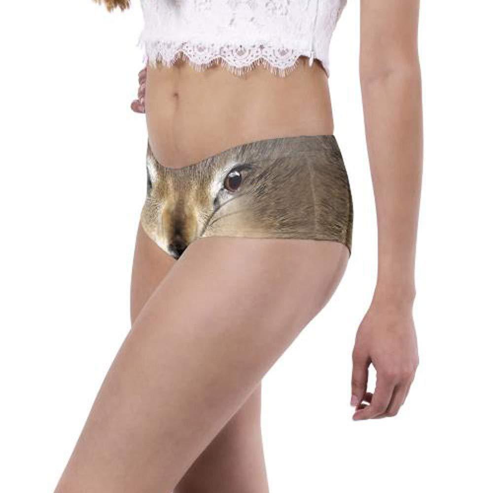 Women Sexy Briefs, Animal 3D Digital Printing Underwear Breathable Clubwear (1 PC, E)