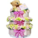 Art of Appreciation Gift Baskets Sweet Baby Diaper Cake Gift Tower with Teddy Bear, Pink Girl