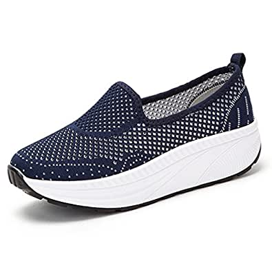 Hishoes Womens Sneakers Platform Wedges Sports Shoes Breathable Mesh Fitness Toning Rocker Shoes Walking Trainers Blue