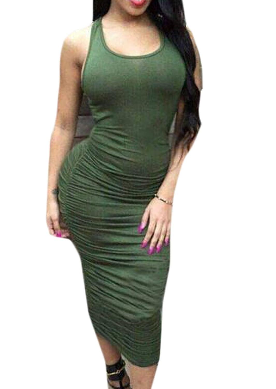 WANSHIYISHE Womens Basic Sexy Sleeveless Wrop Hip Dress