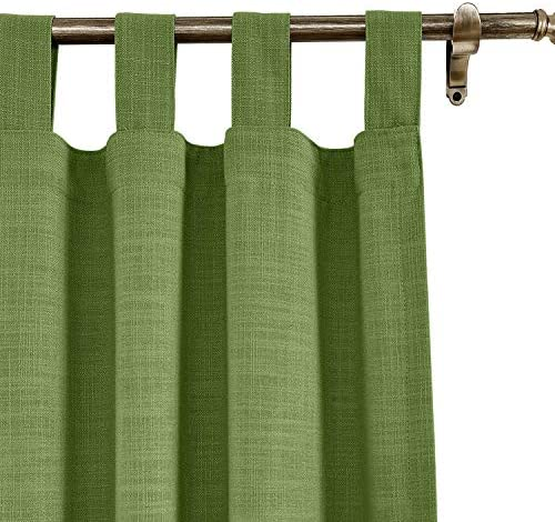 cololeaf Extra Long Blackout Linen Curtain,Themal Insulated Tab Top Nursery Infant Care Curtains for Living Room Meetingroom Theater Patio,Green 120W x 102L Inch 1 Panel
