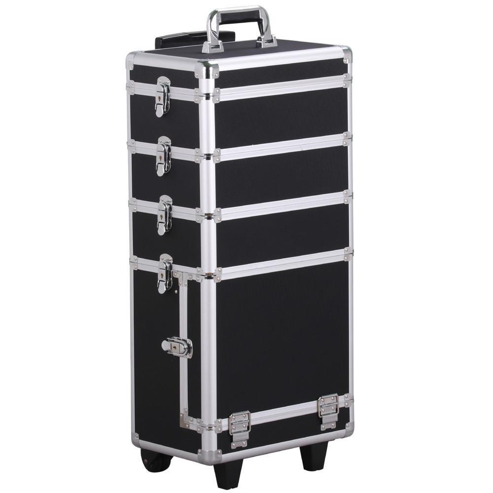 Yaheetech Valigia Beauty case make up trucchi grande da viaggio per estetista professionale (4 in 1 Nero)