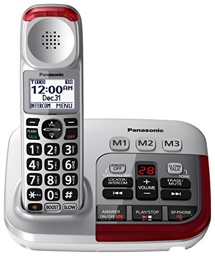 PANASONIC Amplified Cordless Phone with Digital Answering Machine - KX-TGM450S - 1 Handset (Silver) - Amplified Telephone Ringer