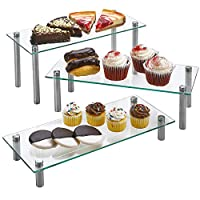 ZAFUU 3 Tier Rectangle Tempered Glass Retail Display Stand 5 x 12 Incch for Cupcakes, Dessert, Bags, Perfume - Set of 3 Glass Display Raisers.