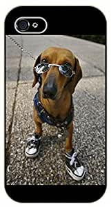 iPhone 5 / 5s Hipster dog, shoes and glasses- black plastic case / dog, animals, dogs