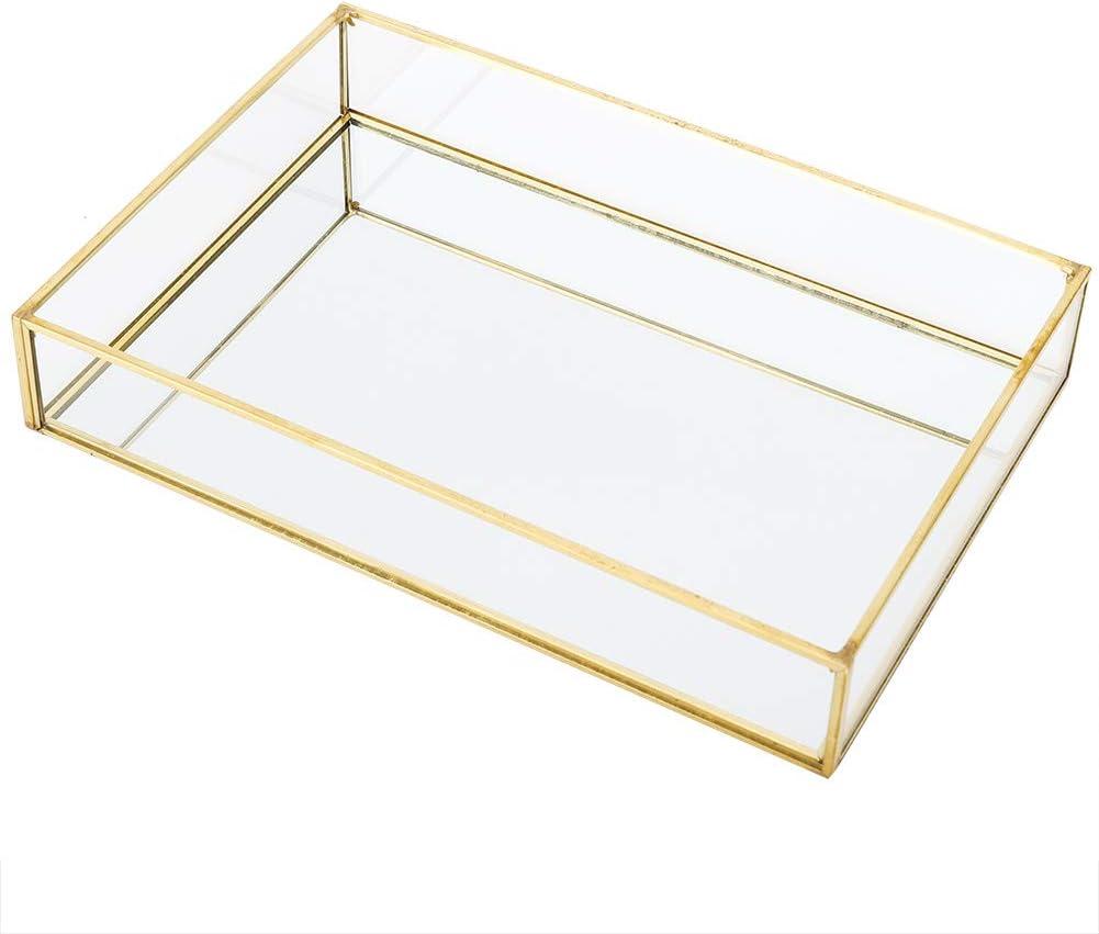 Fdit1 Caja de Almacenamiento de Vidrio de Metal Vintage Bandeja de Oro Joyas cosm/éticos Cajas de presentaci/ón Talla Grande