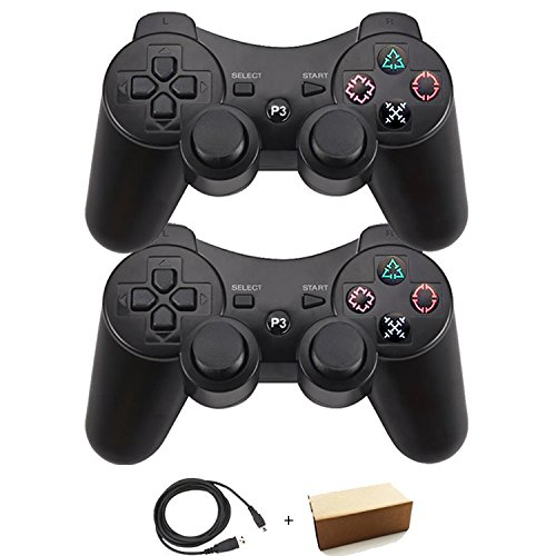 Molgegk Wireless Bluetooth Controller For PS3 Double Shock - Bundled with USB charge cord (Black and (Used Ps3)