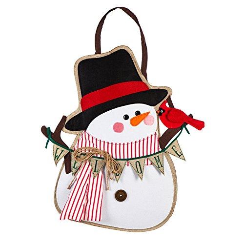 - Evergreen Door Hanger Set, Portly Snowman Door Decor with Fleur-de-Lis Metal Holder