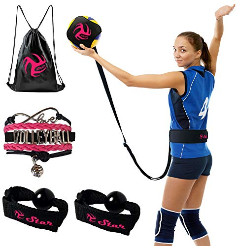 (Volleyball Training Equipment Aid - Practice Your Serving, Setting & Spiking with Ease, Great Solo Serve & Spike Trainer for Beginners & Pro (Black&Pink Volleyball Training Kit))