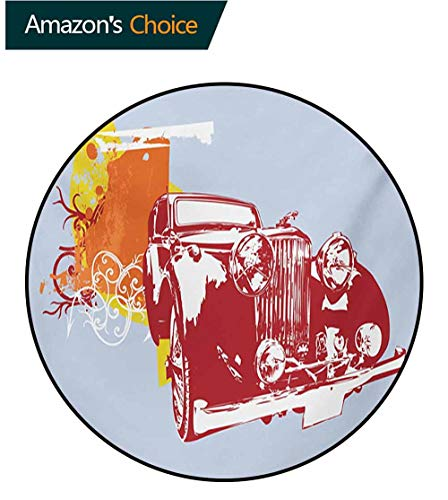 RUGSMAT Cars Round Area Rugs Living Room,Classic Vintage Collectors Detailed Vehicle Design in Abstract Background Study Computer Chair Cushion Base Mat Round Carpet,Round-59 ()