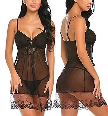 Avidlove Women Lingerie Lace Chemises Mesh Babydolls V Neck Sleepwear