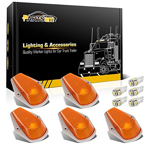 Partsam 5pcs Top Clearance Cab Marker Roof Running Light Amber Cover Lens 15442 + 5050 T10 194 LED Bulbs for 1973-1997 Ford F150 F250 F350 Pickup Super Duty Trucks.