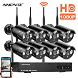 Wireless Security Camera System, 8ch 1080P WiFi NVR Kit, 8pcs 1080P Bullet IP Cameras, 100ft (30m) Night Vision, IP66 with 3m Power Cord (Black)