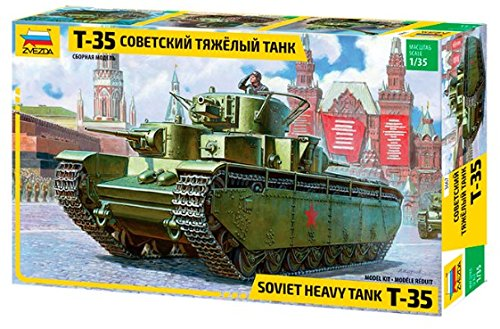 Reconnaissance Units - World War II 1/35 Scale T-35 Soviet Union Heavy Tank Plastic Model Figure Collection Red Army Ground Force Reconnaissance Unit Soldier 2 Zvezda