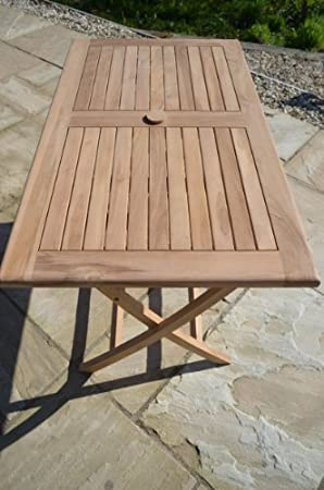 Warwick - Solid Teak - 1.2m / 4ft Rectangular Folding Garden Table - 4-