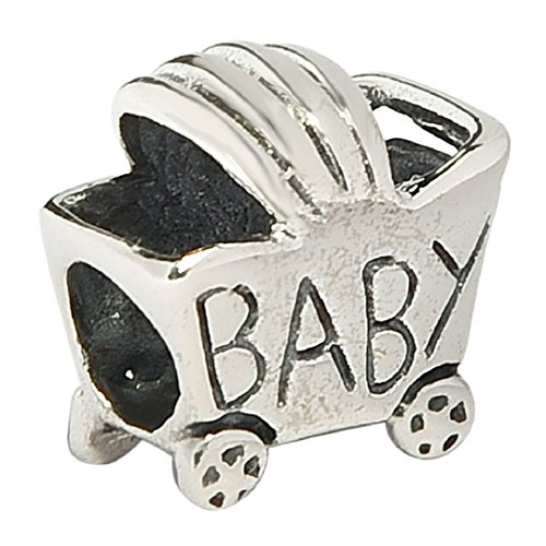 Baby Carriage Family Authentic Sterling Silver Solid Family & Friends Charm Bead Fits European Charms