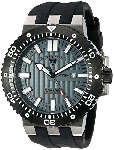 Swiss Legend Men's 10126-GM-014-BB Challenger Grey Textured Dial Black Silicone -