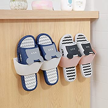 MEOLY Home Shoe Shelf Plastic Wall Mounted Shoes Rack for Entryway Over The Door Shoe Hangers Organizer Hanging Shoe Storage Racks 4pcs Pack White