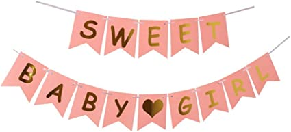 Amazon Com Sweet Baby Girl Party Banner Baby Shower Decorations For Girl Baby Party Suppliesr Gifts With Pink Shower Banner Health Personal Care