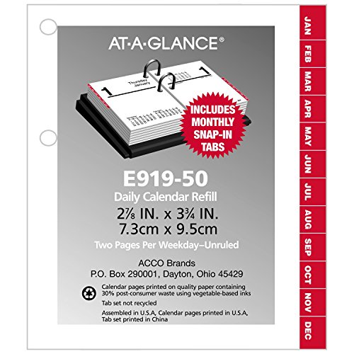 Calendar Refill Pages : At a glance daily desk calendar refill compact