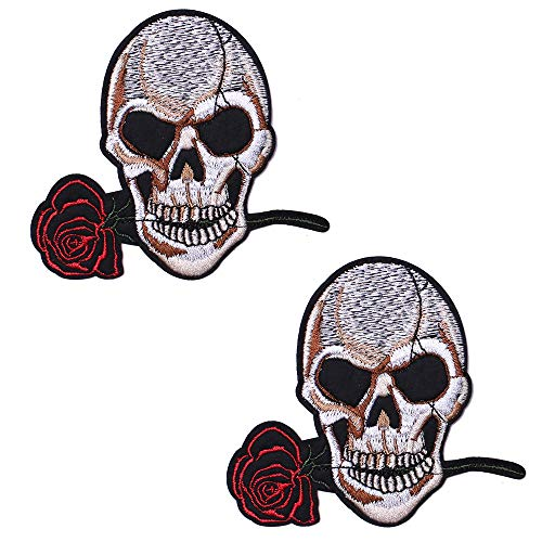 SHELCUP 2 Pack American US Flag Patch, Embroidered Cloth Sew on Iron on Patch, Skull and Roses