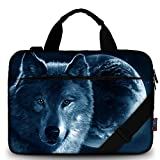 iColor 13' Canvas Laptop Shoulder Bags 12' 13.3' 12.5 Inch Computer Tablet Handle Cases Briefcase Carrying Sleeve Cover Pouch Holder (12' ~13.3', Cool Wolf)