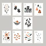 "Boho Woodland Counting Cards Set of 10 5""x7"" Number Wall Cards, Kid's Room, Children's Wall Art, Gender Neutral Nursery, Playroom"
