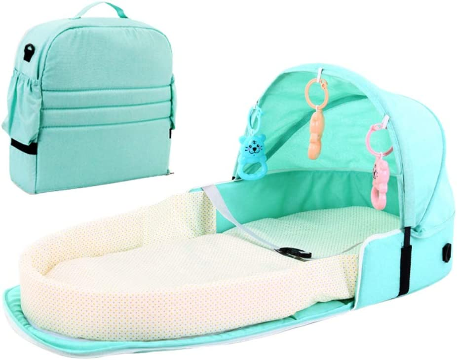 Portable Baby Bed Foldable Bassinet Newborn Baby Travel Cot Bassinets Nest Sleeping Pod Infant Lounger Sleeper Crib with Canopy,Mosquito Net Sleeping Basket with Toys 5 Colors