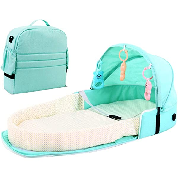 Hankyky Portable Bassinet Bag Travel Bed for Baby Breathable Infant Sleeping Basket Foldable Baby Bed Travel Indoor Bed Backpack Bed