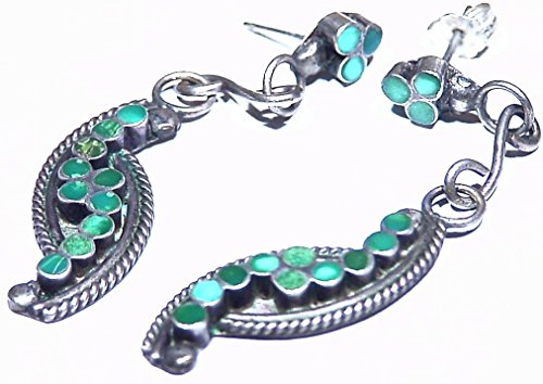 6.40g Southwest Turquoise Inlay Carved Vintage Handmade Sterling Silver Dangle Earrings Healing Antique Signed Artwork