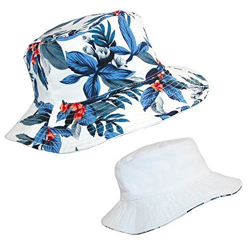 CTM Cotton Hawaiian Reversible Travel Bucket Hat, 22 - 22.75 Inches, Blue/White