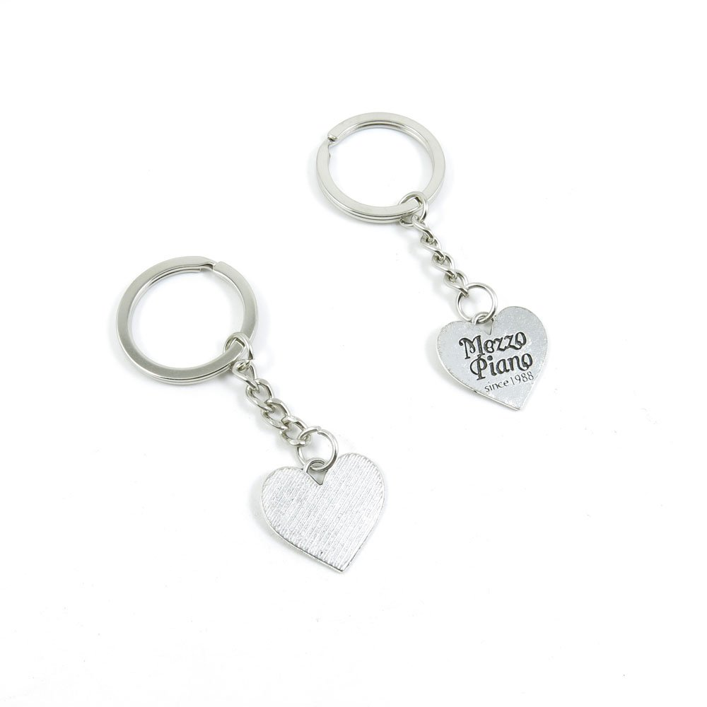 100 Pieces Keychain Door Car Key Chain Tags Keyring Ring Chain Keychain Supplies Antique Silver Tone Wholesale Bulk Lots S1BF5 Mezzo Piano Heart Tag