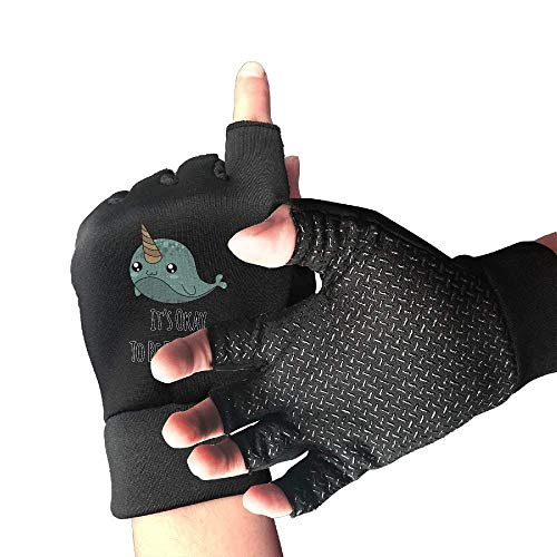 Bicycle Slip-Proof It's Okay to Be Different Narwhal Unicorns Half Finger Short Gloves Outdoor Sports Working Gloves -
