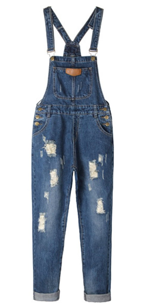 AvaCostume Womens' Adjustable Strap Ripped Denim Overalls (X-Large)